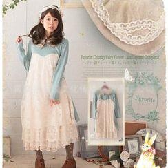 Nectarine - Long-Sleeve Lace Panel Dress