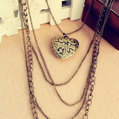Lazy Corner - Multi-Chain Heart Pendant Necklace