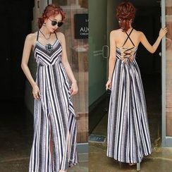 PPGIRL - Spaghetti-Strap Pattern Long Dress
