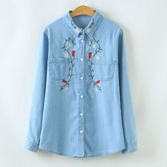 Angel Love - Embroidered Denim Shirt