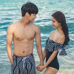 LANYI - Couple Matching Patterned Swim Shorts / Off Shoulder Swimsuit