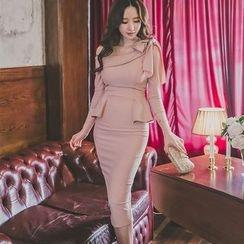 Gl.bY - Long-Sleeve Off Shoulder Sheath Midi Dress