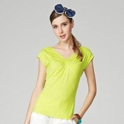 O.SA - V-Neck Shirred Top