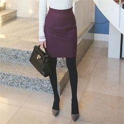 ode' - High-Waist Zip-Back Pencil Skirt