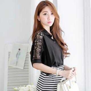 Tokyo Fashion - Short-Sleeve Lace-Panel Blouse