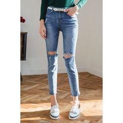 migunstyle - Distressed Slim-Fit Jeans