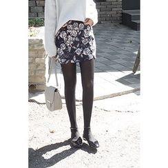 CHERRYKOKO - Rosette Pattern Corduroy A-Line Mini Skirt