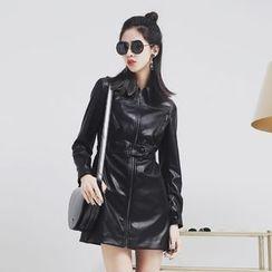 Sonne - Faux-Leather Zipper A-Line Dress