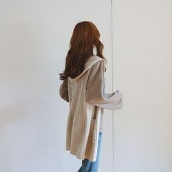 JUSTONE - Hooded Open-Front Rib-Knit Long Vest