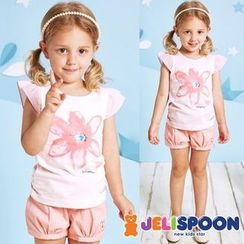 JELISPOON - Girls Cap-Sleeve Printed T-Shirt