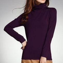 Raisin - Turtleneck Fleece-lined Top