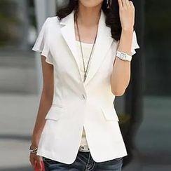 Raisin - 皱摺短袖西装外套