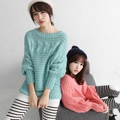Tokyo Fashion - Dolman Sleeve Cable-Knit Sweater