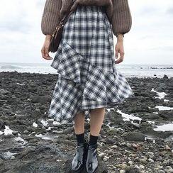 BZY - Plaid Ruffled Midi Skirt
