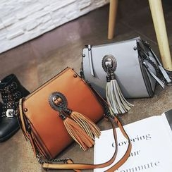 Nautilus Bags - Faux Leather Tassel Crossbody Bag