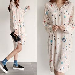 NIPONJJUYA - Mandarin-Collar Pattern Chiffon Shirtdress