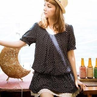 CatWorld - Tie-Waist Lace-Hem Dotted Dress
