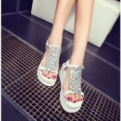 YOUIN - Genuine-Leather Jeweled Platform Sandals