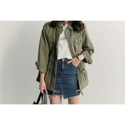 UPTOWNHOLIC - Pocket-Detail Drawstring-Waist Safari Jacket