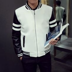 JORZ - Faux Leather Panel Baseball Jacket
