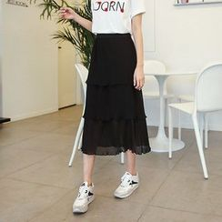 Seoul Fashion - Band-Waist Chiffon Skirt