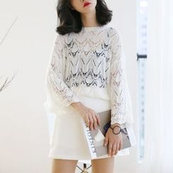 TAILO - Long-Sleeve Open-Knit Top
