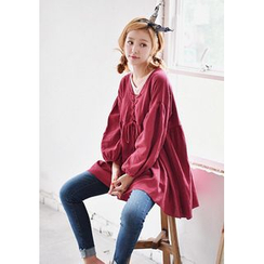 GOROKE - Lace-Up Front Shirred Top