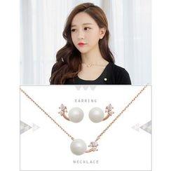 soo n soo - Set: Rhinestone Faux-Pearl Earrings + Necklace