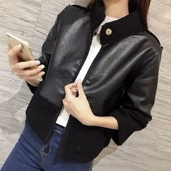 Bloombloom - Fleece Panel Faux Leather 3/4 Sleeve Cropped Jacket
