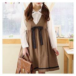 Sechuna - V-Neck Sleeveless Tie-Front Dress