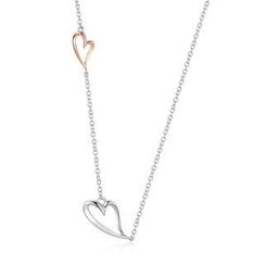 MBLife.com - Left Right Accessory - 9K/375 Rose and White Gold Heart Necklace 16'