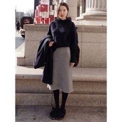maybe-baby - Band-Waist Striped Midi Skirt