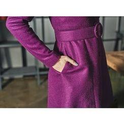 UUZONE - Single-Breasted Wool Blend Coat