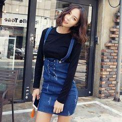 kenzi w - Lace-Up Detail Denim Jumper Skirt