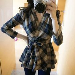 OTTI - Plaid Tie Waist Blouse