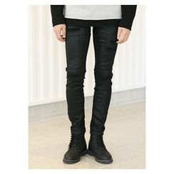 HOTBOOM - Distressed Straight-Cut Pants