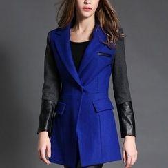 Merald - Faux Leather Panel Lapel Jacket
