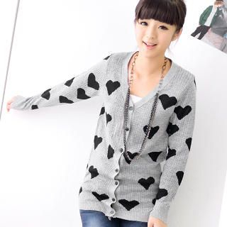 59 Seconds - Heart Print Cardigan
