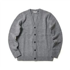 THE COVER - V-Neck Waffle-Knit Cardigan