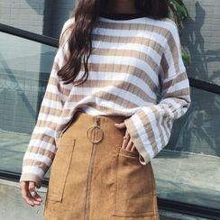 Cloud Nine - Stripe Bell-Sleeve Knit Top