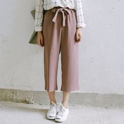 SUYISODA - Bow Capri Wide-leg Pants