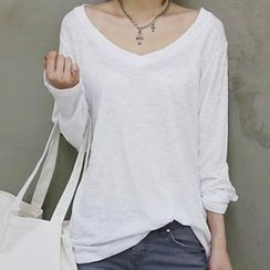 NANING9 - V-Neck Long-Sleeved T-Shirt