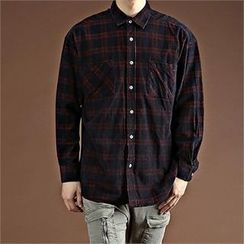 THE COVER - Dual-Pocket Plaid Loose-Fit Shirt