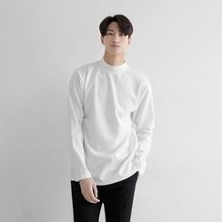 Seoul Homme - Mock-Neck Long-Sleeve T-Shirt (9 Colors)