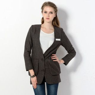 YesStyle Z - Herringbone Collarless Long Blazer