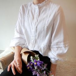 LEELIN - Puff-Sleeve Lace-Trim Blouse