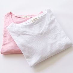Bonbon - Long-Sleeve Plain T-Shirt
