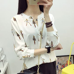 Heybabe - Printed Split-neck Chiffon Blouse