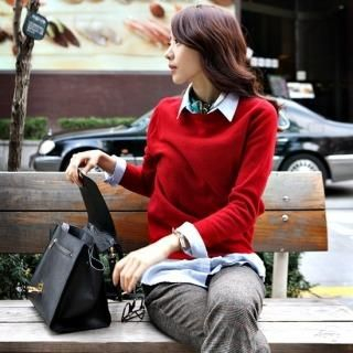 Styleberry - Buttoned Back Wool Blend Knit Sweater