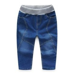 WellKids - Kids Fleece-Lined Washed Stitched Jeans
